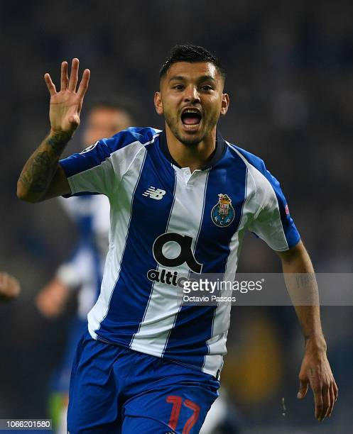 Jesus Manuel Corona of FC Porto celebrates after scoring his team's second goal during the UEFA Champions League Group D match between FC Porto and...