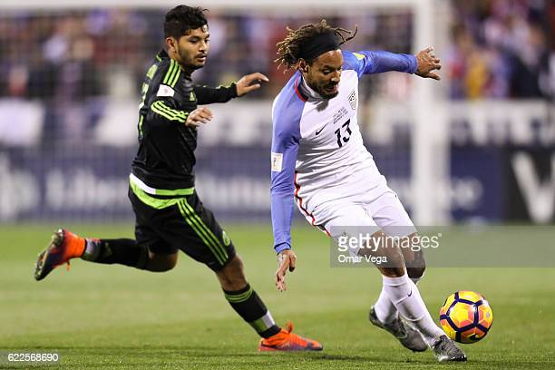 Jesus Manuel Corona of Mexico fights for the ball with Jermain Jones of USA during the match between USA and Mexico as part of FIFA 2018 World Cup...