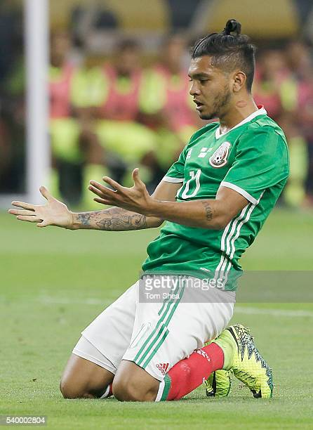 Jesus Manuel Corona of Mexico reacts after missing a chance to score during a group C match between Mexico and Venezuela at NRG Stadium as part of...