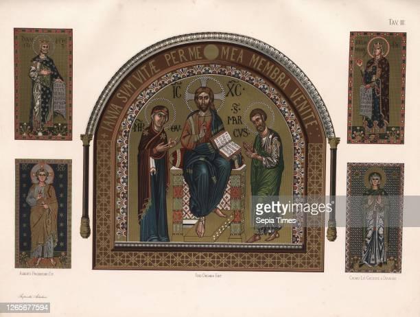Jesus, Markus, Salomon, David, Mosaics in St. Mark's Basilica in Venice, Signed: Alberto Prosdocimi dip, Ferd., Ongania edit, Cromo, -, lit,...