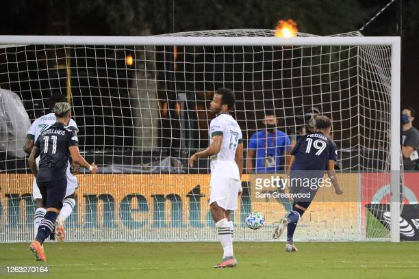 Jesus Medina of New York City celebrates after scoring the first goal of his team with a penalty kick during a quarter final match of MLS Is Back...