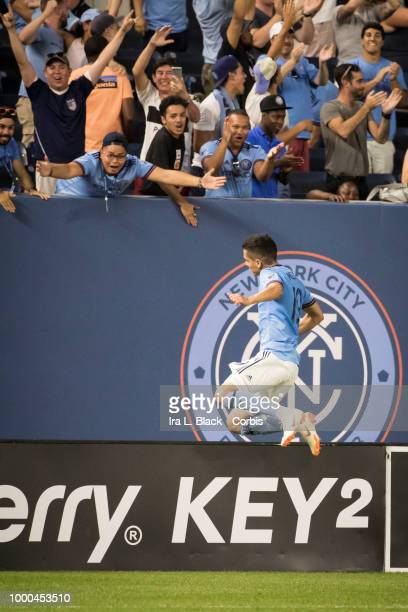 Jesus Medina of New York City celebrates his goal by jumping up with the NYCFC logo behind him in the 2nd half of the match during the Major League...