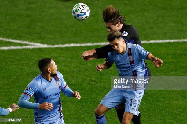Jesus Medina of New York City in action against Montreal Impact at Red Bull Arena on October 24, 2020 in Harrison, New Jersey.