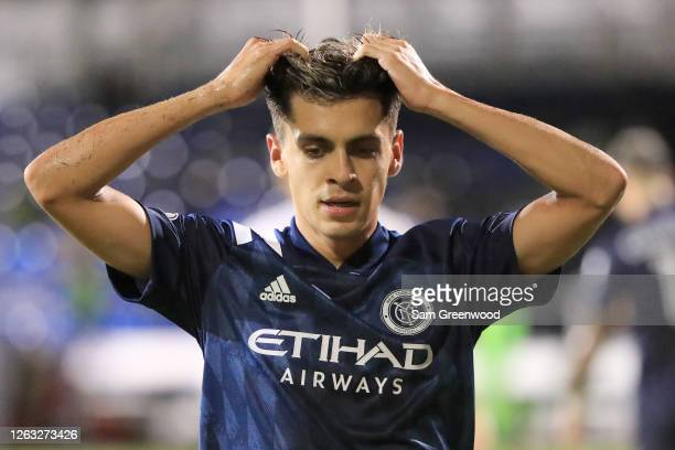 Jesus Medina of New York City laments after missing a chance of goal in the second half during a quarter final match of MLS Is Back Tournament...