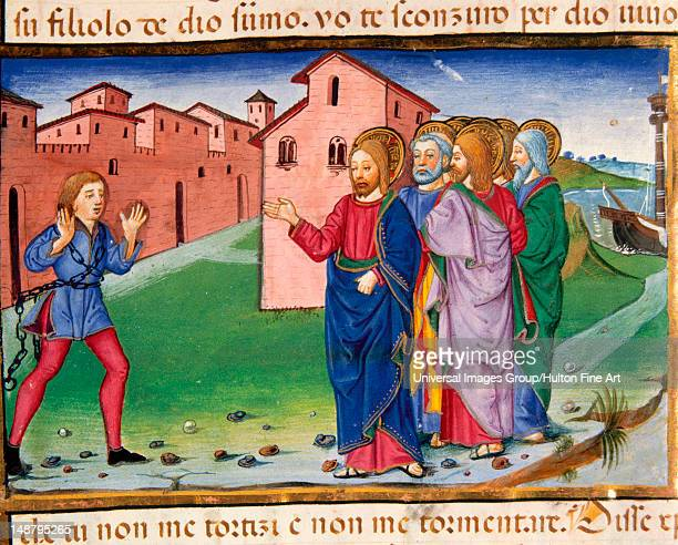 Jesus meets a man possessed by evil spirits, Codex of Predis , Royal Library, Turin, Italy.