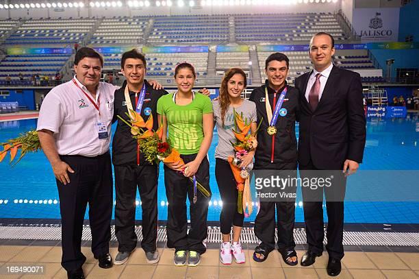 Jesus Mena Daniel Islas Dolores Hernandez Paola Espinosa Yahel Castillo and Kiril Todorov during the Women's 3 meters Synchronized Springboard Finals...