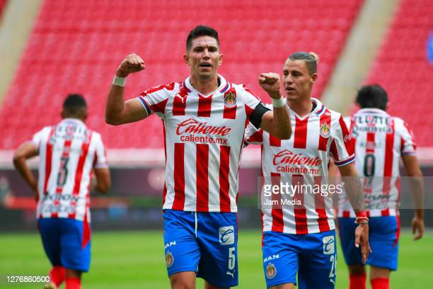 Jesus Molina of Chivas celebrates after scoring the first goal of his team during the 12th round match between Chivas and Mazatlan FC as part of the...