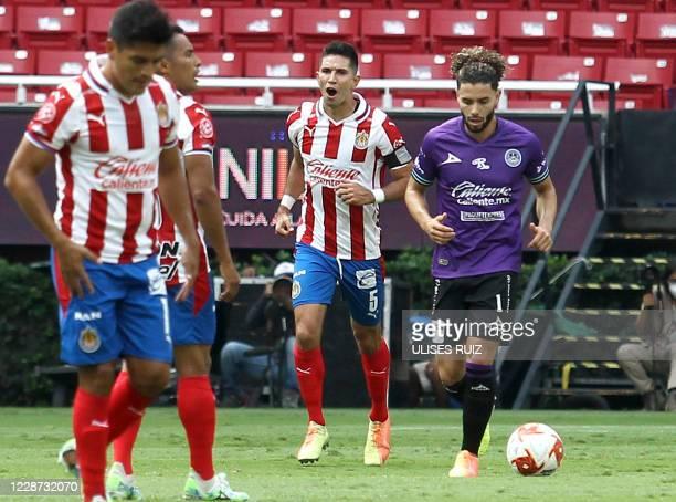 Jesus Molina of Guadalajara celebrates his goal against Mazatlan during their Mexican Apertura tournament football match, at the Akron stadium, in...