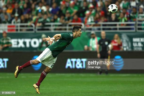 Jesus Molina of Mexico heads the ball during the friendly match between Mexico and Bosnia and Herzegovina at Alamodome Stadium on January 31 2017 in...