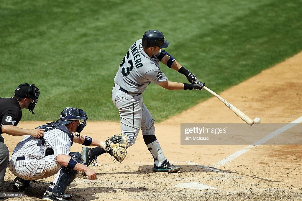 Jesus Montero #63 of the Seattle Mariners connects on a fifth inning RBI single against the New York Yankees at Yankee Stadium on August 5, 2012 in the Bronx borough of New York City.