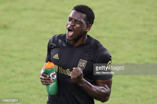 Jesus Murillo of Los Angeles FC celebrates victory during the CONCACAF Champions League semifinal game against Club America at Exploria Stadium on...