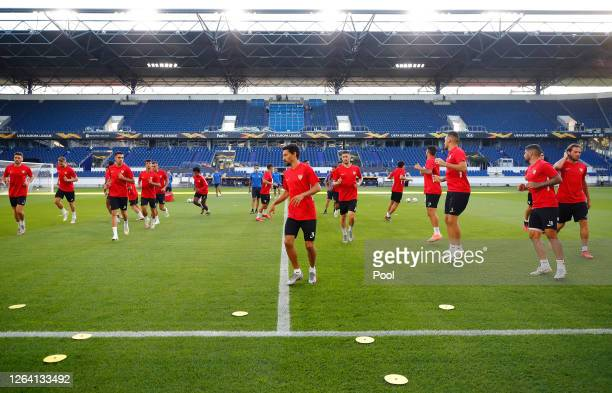 Jesus Navas and team mates during an Sevilla FC Training Session And Press Conference at MSV Arena on August 05 2020 in Duisburg Germany