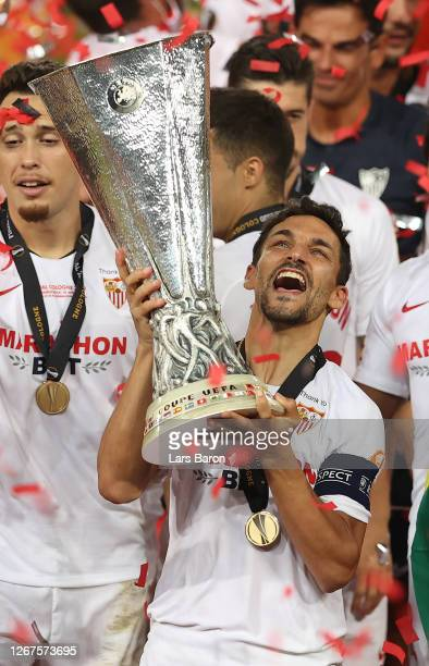 Jesus Navas, Captain of Sevilla lifts the UEFA Europa League trophy following his team's victory in the UEFA Europa League Final between Seville and...