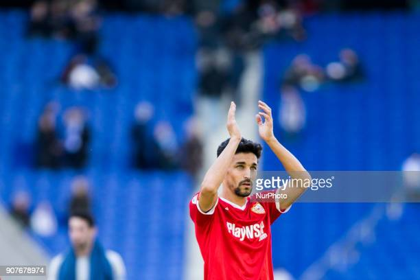 Jesus Navas from Spain of Sevilla FC during La Liga match between RCD Espanyol v Sevilla FC at RCD Stadium in Barcelona on 20 of January 2018