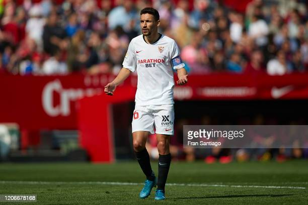 Jesus Navas Gonzalez of Sevilla FC looks on during the Liga match between Sevilla FC and RCD Espanyol at Estadio Ramon Sanchez Pizjuan on February...