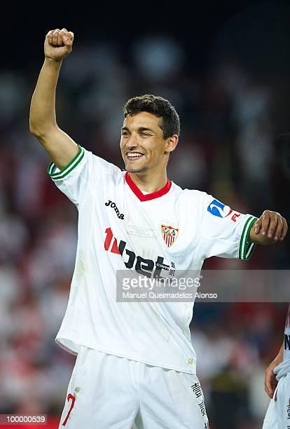 Jesus Navas of Sevilla celebrates after winning the Copa del Rey final between Atletico de Madrid and Sevilla at Camp Nou stadium on May 19 2010 in...