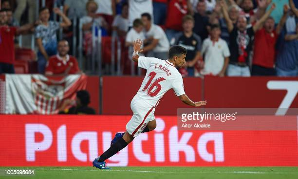 Jesus Navas of Sevilla FC celebrates after scoring the first goal of his team during Sevilla v Ujpest UEFA Europa League Second Qualifying Round 1st...