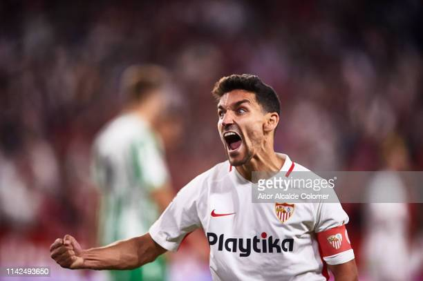 Jesus Navas of Sevilla FC celebrates after wining the match against Real Betis Balompie during the La Liga match between Sevilla FC and Real Betis...