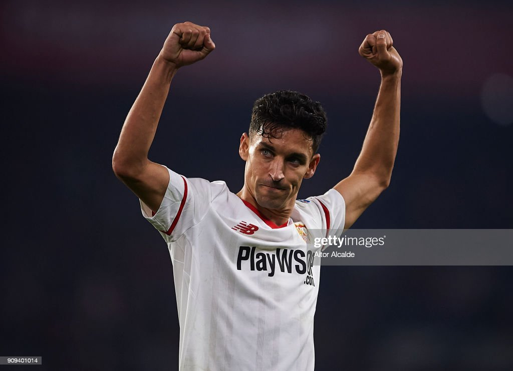 Jesus Navas of Sevilla FC celebrates after wining the match against Atletico de Madrid during the Copa del Rey, Quarter Final, second Leg match between Sevilla FC and Atletico de Madrid at Estadio Ramon Sanchez Pizjuan on January 23, 2018 in Seville, Spain.