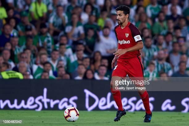 Jesus Navas of Sevilla FC in action during the La Liga match between Real Betis Balompie and Sevilla FC at Estadio Benito Villamarin on September 2...