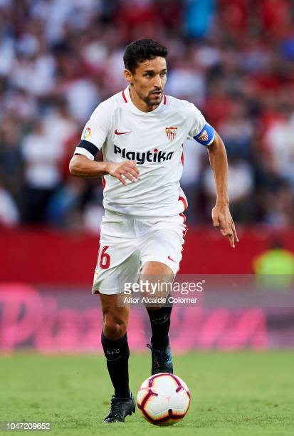 Jesus Navas of Sevilla FC in action during the La Liga match between Sevilla FC and RC Celta de Vigo at Estadio Ramon Sanchez Pizjuan on October 7...