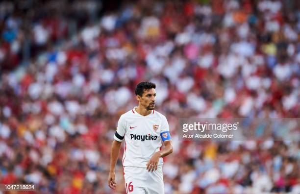 Jesus Navas of Sevilla FC reacts during the La Liga match between Sevilla FC and RC Celta de Vigo at Estadio Ramon Sanchez Pizjuan on October 7 2018...