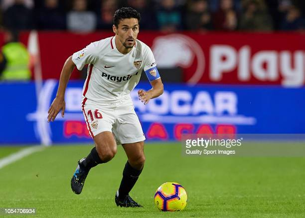 Jesus Navas of Sevilla in action during the La Liga match between Sevilla FC and SD Huesca at Estadio Ramon Sanchez Pizjuan on October 28 2018 in...