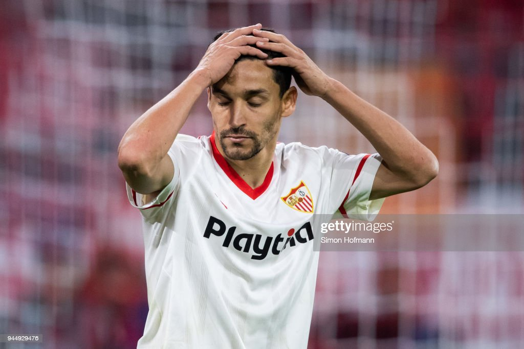 Jesus Navas of Sevilla reacts during the UEFA Champions League Quarter Final second leg match between Bayern Muenchen and Sevilla FC at Allianz Arena on April 11, 2018 in Munich, Germany.