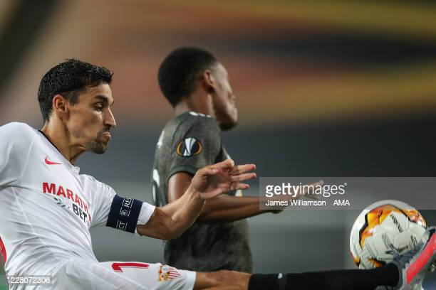 Jesus Navas of Seville during the UEFA Europa League Semi Final between Sevilla and Manchester United at RheinEnergieStadion on August 16, 2020 in...