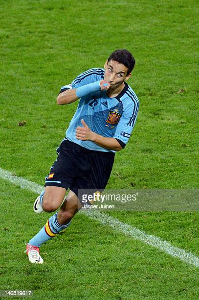 Jesus Navas of Spain celebrates scoring their first goal during the UEFA EURO 2012 group C match between Croatia and Spain at The Municipal Stadium...