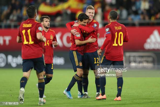Jesus Navas of Spain celebrates with teammates after scoring his team's seventh goal during the UEFA Euro 2020 Qualifier between Spain and Malta on...