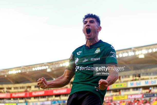 Jesus Ocejo of Santos celebrates after scoring his team's second goal during the 1st round match between Necaxa v Santos Laguna as part of the Torneo...