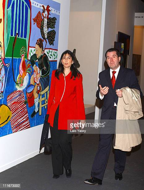 Jesus Ortiz Father of CrownPrince Felipe of Spain Fiancee Letizia Ortiz and his girlfriend Ana Togores Visited ARCO 2004 in Madrid