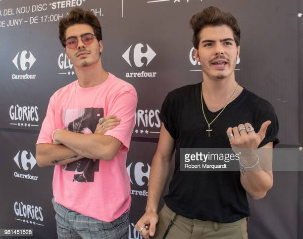 Jesus Oviedo Morrilla and Daniel Oviedo Morrilla of the Gemeliers seen attending their new album 'Stereo' presentation at the Glories shopping center...