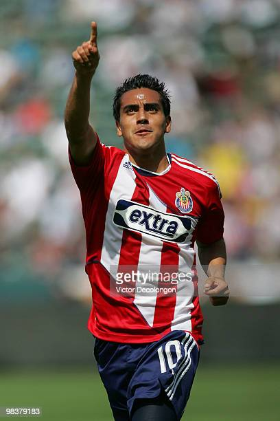 Jesus Padilla of Chivas USA celebrates his second goal in their MLS match against the New York Red Bulls in the second half at the Home Depot Center...