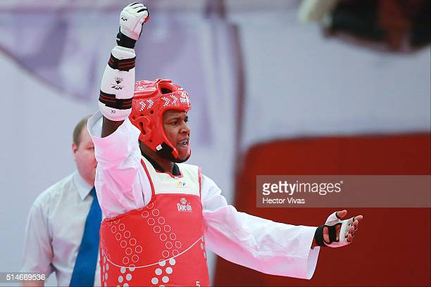 Jesus Perea of Ecuador celebrates after competing in Men's 80 kg as part of Taekwondo PANAM Qualification Tournament for Rio 2016 Olympic Games at...