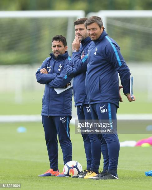 Jesus Perez Mauricio Pochettino and Miguel D'Agostino of Tottenham during the Preseason friendly match between Tottenham Hotspur and Leyton Orient at...
