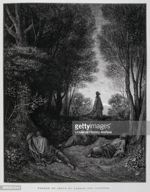 Jesus prays in the Garden of Gethsemane on the mount of Olives in Jerusalem Illustration from the Dore Bible 1866 In 1866 the French artist and...