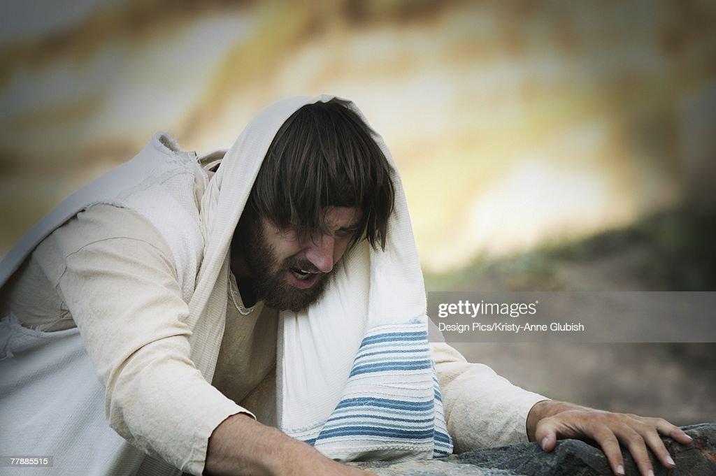 Jesus prays : Stock Photo