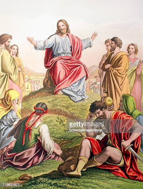 Jesus preaching the sermon on the mount From The Holy Bible published by William Collins Sons Company in 1869 Chromolithograph by JM Kronheim Co
