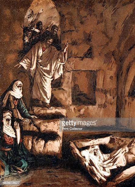 Jesus raising Lazarus from the tomb 1897 Illustration by JJ Tissot for his Life of Our Saviour Jesus Christ