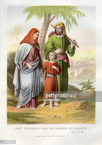 Jesus returns with his parents to Nazareth Illustration to Luke 249 Following Passover in Jerusalem where Jesus debated with men in the temple