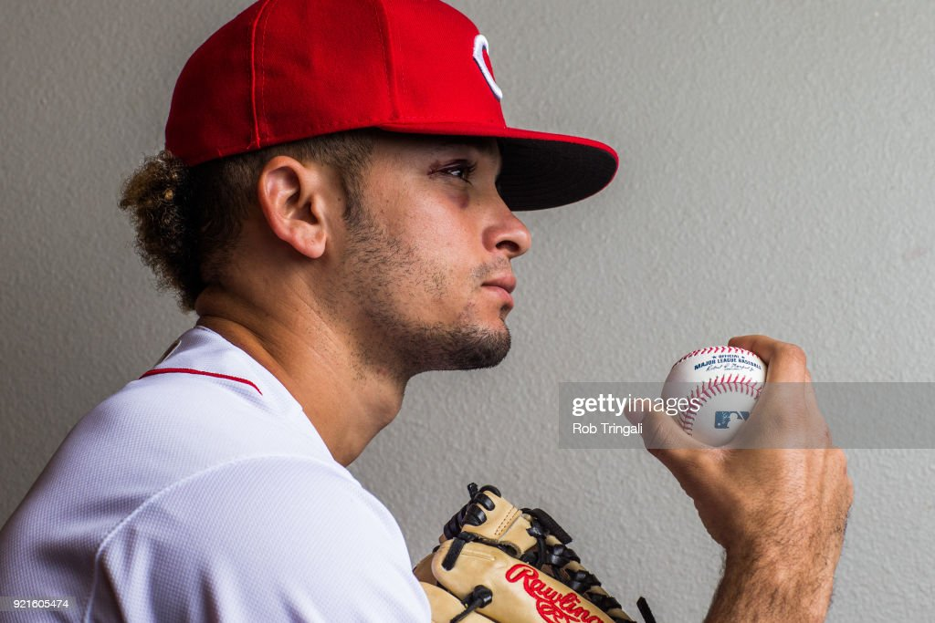 Jesus Reyes #73 of the Cincinnati Reds poses for a portrait at the Cincinnati Reds Player Development Complex on February 20, 2018 in Goodyear, Arizona.