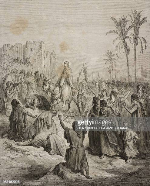 Jesus rides into Jerusalem on Palm Sunday engraving by Gustave Dore from The Holy Scriptures containing the Old and New Testaments Translated from...