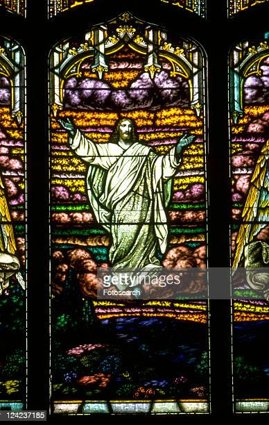 jesus risen and ascending with outstretched arms and nail holes in hands - ascension of jesus christ photos et images de collection