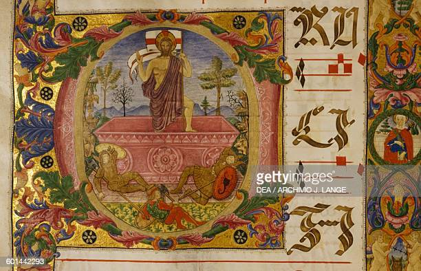 Jesus risen from the tomb, illuminated initial from a medieval antiphonary , St Peter's basilica, Perugia, Umbria, Italy.