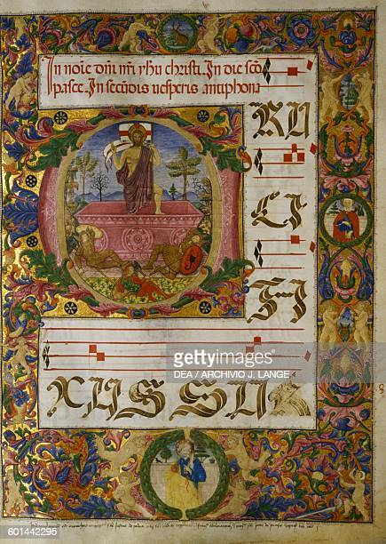 Jesus risen from the tomb illuminated page from a medieval antiphonary St Peter's basilica Perugia Umbria Italy