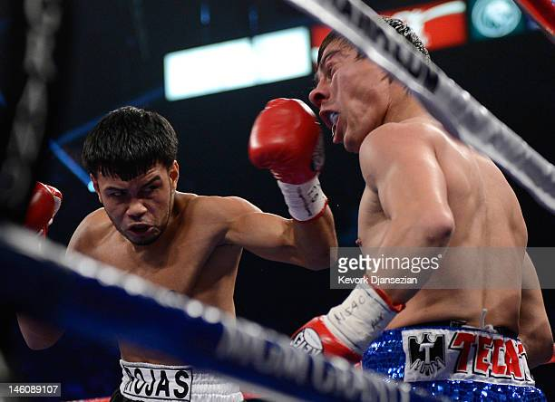 Jesus Rojas lands a left to the head of Jorge Arce during their featherweight fight at MGM Grand Garden Arena on June 9 2012 in Las Vegas Nevada