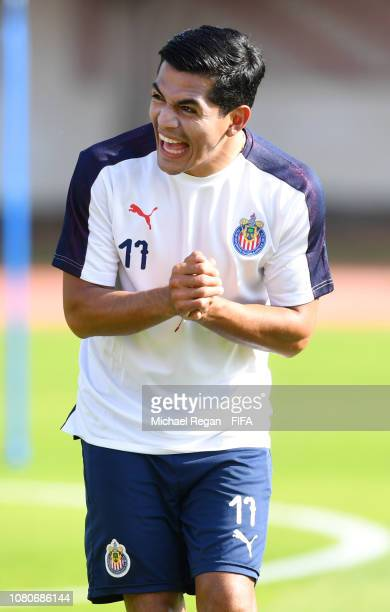 Jesus Sanchez Garcia laughs during the CD Guadalajara training session ahead of the FIFA Club World Cup UAE 2018 on December 11, 2018 in Al Ain,...