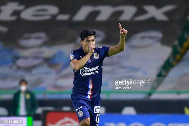 Jesus Sanchez of Chivas celebrates after scoring the first goal of his team during the 5th round match between Leon and Chivas as part of Torneo...